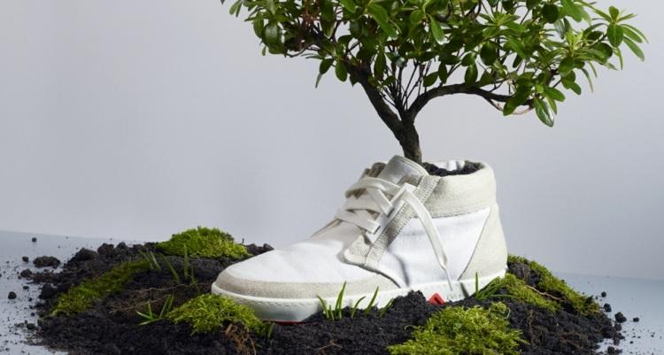 Ein veganer Schuhladen wo Austausch geschieht